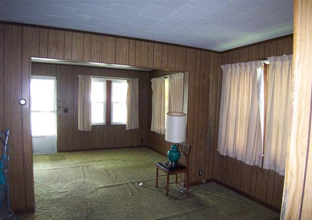 instead it had 70s wood paneling covering the old plaster and ancient and filthy green shag carpeting covering the floors both needed to go to give the - Wood Paneling With Wood Floor